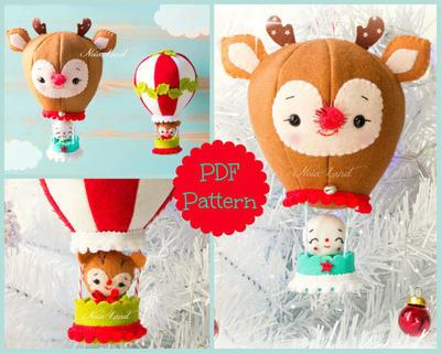 Patrón PDF. Globos de Navidad. Rudolph y el muñeco de nieve.