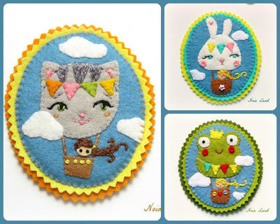 PDF. Animal balloon brooches: cat, frog and rabbit. Felt brooch pattern.