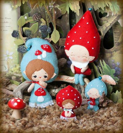 PDF. Gnome family. Murshroom elves. Plush Doll Pattern