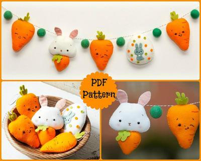 PDF. Guirnalda de Pascua. Bunny, zanahorias y huevo de Pascua.