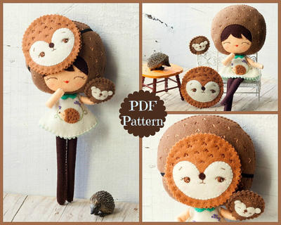 PDF Hedgehog doll with mask and puppet