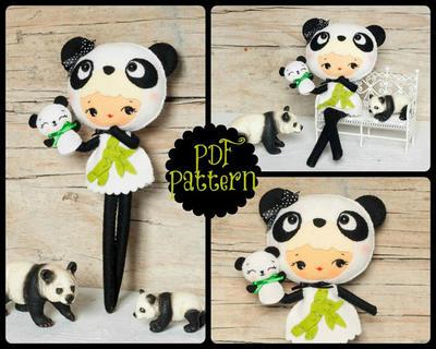 PDF. Muchacha de oso panda con marionetas