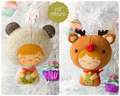 PDF Pattern. Baby bear and baby Rudolph. Christmas babies pattern.