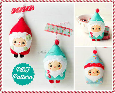 PDF Pattern. Christmas Santa & Elf ornaments pattern.