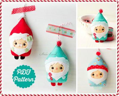 PDF Pattern. Christmas Santa & Elf ornaments pattern.