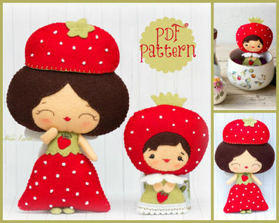PDF Pattern. Strawberry fairies. Doll pattern.