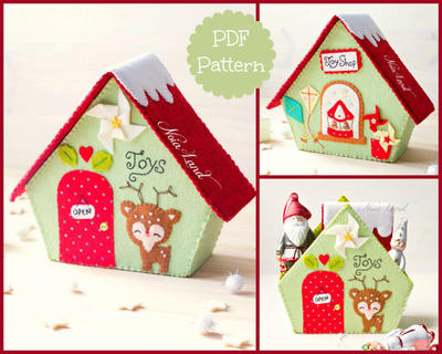 PDF Pattern. Toy Shop. Christmas house.