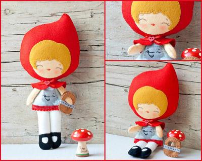 PDF. Red riding hood doll.  Plush Doll Pattern