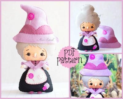 PDF. The witch (from Hansel and Gretel). Plush Doll Pattern