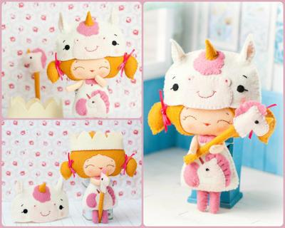 PDF unicornio princesa muñeca. Felpa muñeca patrón