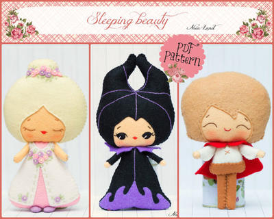The Sleepy beauty: Princess Aurora, Prince Phillip and Maleficent. Fairy tale pattern.