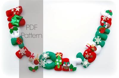 Felt Merry Christmas garland PDF Pattern. Felt letters.