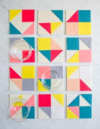 Modular Felt Coasters - Patrón Posavasos Modulares de fieltro