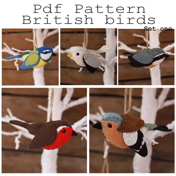 British birds set one PDF pattern. Blue tit, gull, chaffinch, nuthatch, robin