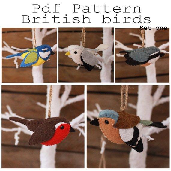 British birds set one PDF pattern. Blue tit, gull, chaffinch, nuthatch, robin