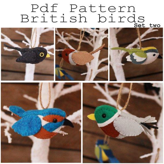 British birds set two PDF pattern. Black bird, partridge, kingfisher, mallard, goldcrest...