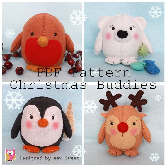 Christmas Buddies pdf pattern. Robin, polar bear, rudolph and plushy
