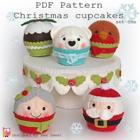 Christmas cupcakes set one PDF. Felt play, santa, polar bear, robin