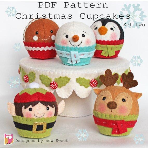 Christmas cupcakes set two PDF pattern. Cake, elf, reindeer, snowman, gingerbread man