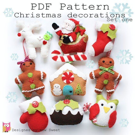 Christmas decorations set one PDF pattern. Owl, reindeer, sabta, sleigh, stocking, gingerbread, tree...