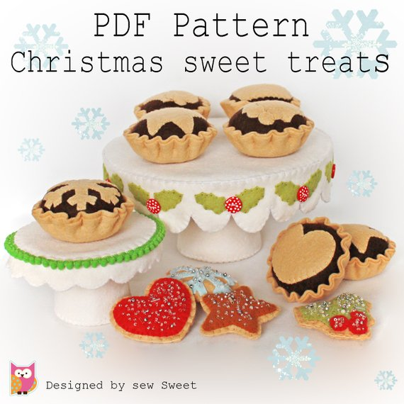 Christmas Sweet treats pdf pattern with Cake stand & mince pies.