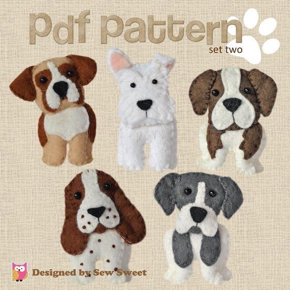 Cute plush Dogs sewing pattern set Two. Keyring, boxer, scottish terrier, great dane, saint bernard, springer...