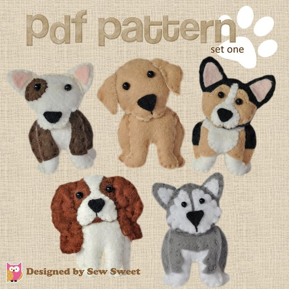 cute plush Dogs sewing patterns set One - Corgi, bull terrier, malamute, labrador, cavalier king