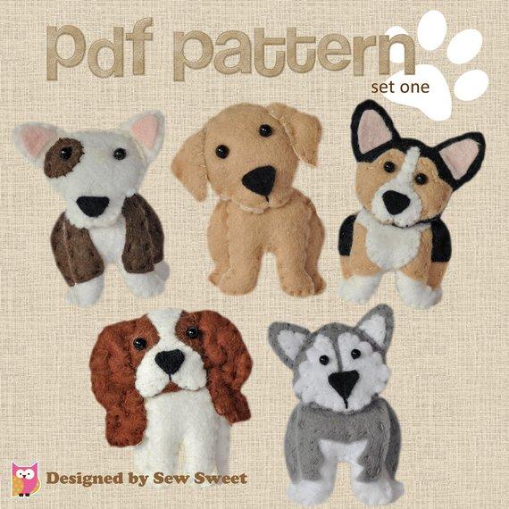 cute plush Dogs sewing patterns set One - Corgi, bull terrier, malamute, labrador, cavalier king
