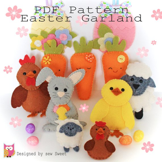 Easter garland PDF sewing pattern. Garland, bunting, decorations, twiggy tree, easter gift.