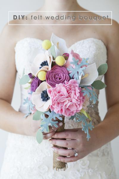 Felt Flower Wedding Bouquet