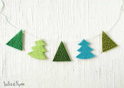 Fir Trees Felt Garland Pattern, Winter, Holidays, Christmas Felt Embroidery Garland Pattern