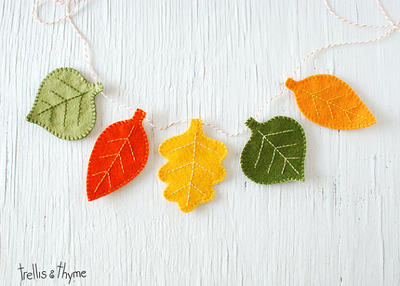 PDF Pattern - Autumn Leaves Felt Garland Pattern, Halloween, Thanksgiving Felt Embroidery Garland Pattern