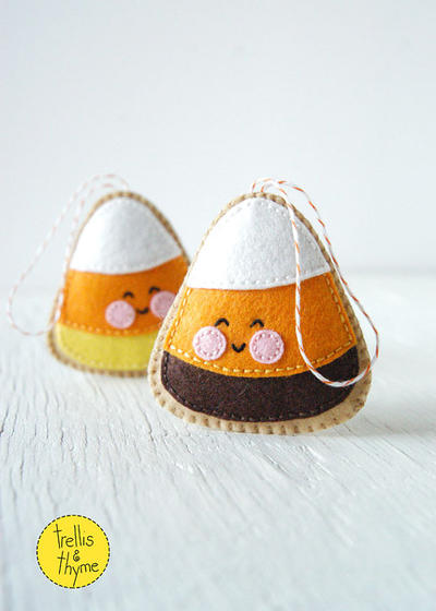 PDF Pattern - Candy Corn, Halloween Felt Ornament Pattern