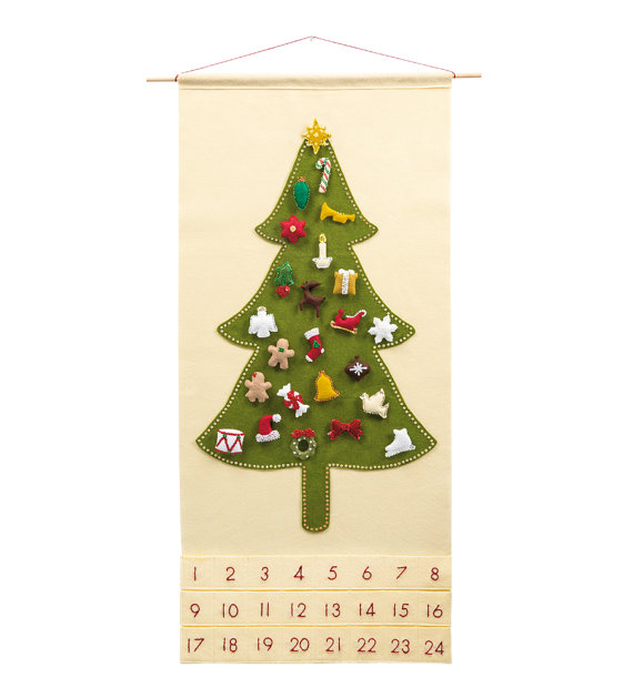 Christmas Advent Calendar Pattern  - 'Oh, Christmas Tree with 24 Ornament Shapes'