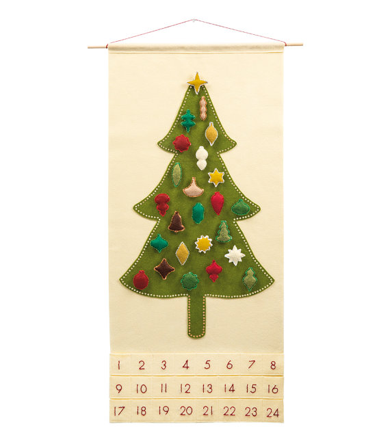Christmas Advent Calendar Pattern - Wool Felt - Christmas Countdown - 'Oh, Christmas Tree with 24 Vintage Ornaments'