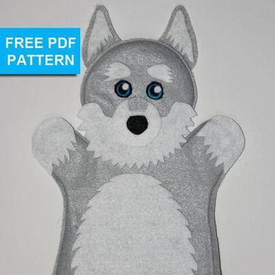 Husky Dog Felt Hand Puppet