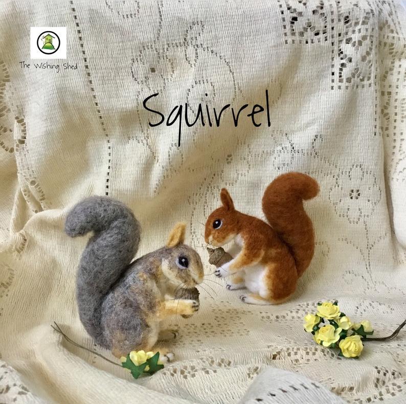 baby squirrel ornament Cute squirrel Handmade brooch needle felted woodland animals red squirrel squirrel with acorn
