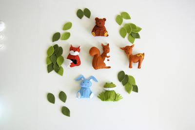 Woodland baby mobile felt fox squirrel