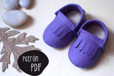 Patrón para realizar patucos (estilo mocasín indio) para bebés de 0-3 meses y de 3-6 meses