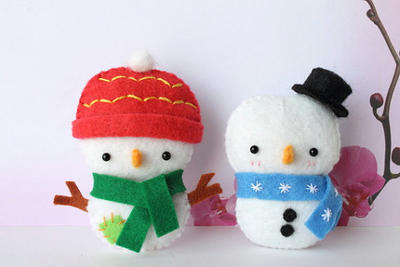 Patrón de PDF - adorno de Navidad muñeco de nieve de fieltro