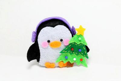 Patrón de PDF - pingüino de fieltro Navidad