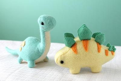 Patrón PDF - Brontosaurus dinosaurio peluche bulto y Stegosaurus fieltro