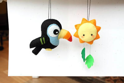 PDF Pattern - Felt Toucan and Sun Ornament